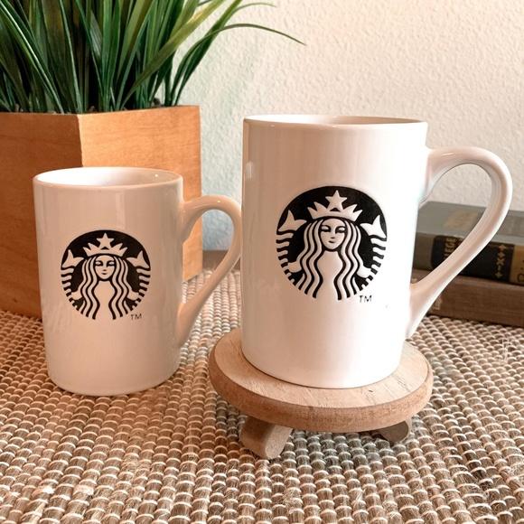2013 Starbucks coffee mugs black siren logo set